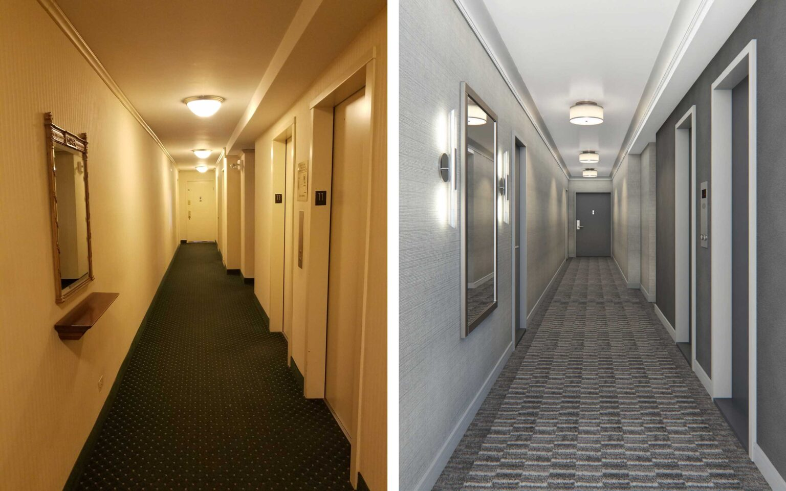 60 Riverside Drive New York NY Hallway Redesign Before vs After
